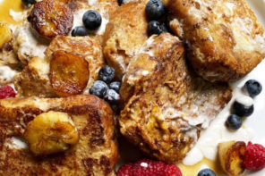 Most mornings, I eat fresh eggs with veggies. But, some days call for a more indulgent breakfast, like this Banana Bread French Toast! Get the recipe.